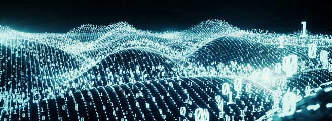 Digital binary code on landscape, glowing neon style, binary data background, Panoramic banner, blue color