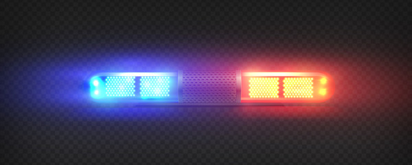 Realistic police led flasher Red and blue lights. Transparent beacon for emergency situations.