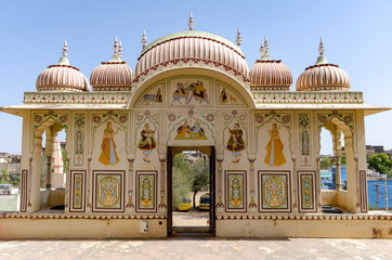 Old Haweli/Haveli house in Mandawa a medieval city in Rajasthan state in India.