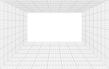 room perspective with thin and bold grid Fotobehang