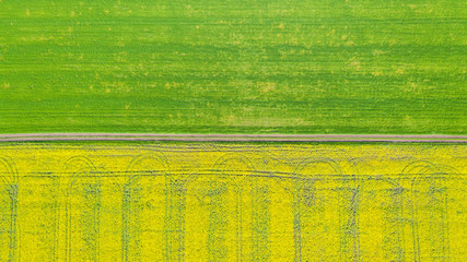 Aerial view over the agricultural fields.