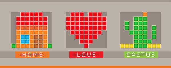 Pixelart simple icons. Vector illustration.