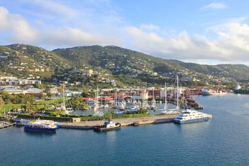Charlotte Amalie port on Caribbean island Saint Thomas.