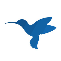 Blue silhouette of a flying little caliber bird. Suitable for emblem or logo. Vector isolated illustration.