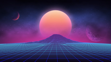 Futuristic retro landscape of the 80`s. Vector futuristic illustration of sun with mountains in retro style. Digital Retro Cyber Surface. Suitable for design in the style of the 1980`s. Fotomurales