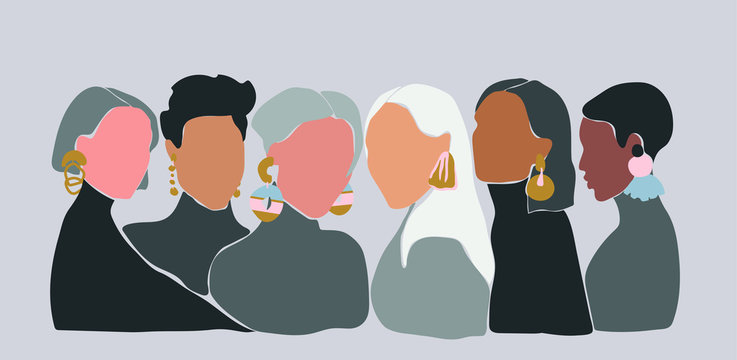 A group of women with big earrings. Sisterhood concept. Vector llustration of 6 women with different skin color staying close to each other