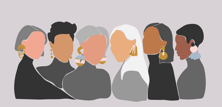 A group of women with big earrings. Sisterhood concept. Illustrations of 6 women with different skin color staying close to each other