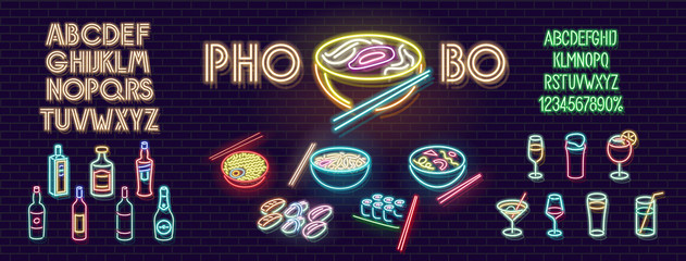 Neon pho bo noodles for bar sign, logo. Lots of ramen, soup, sushi, rolls and asian food. Bottles and cocktails for drink menu. Two variations of alphabet and digits.