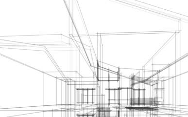 House building architecture concept sketch 3d illustration Fotomurales