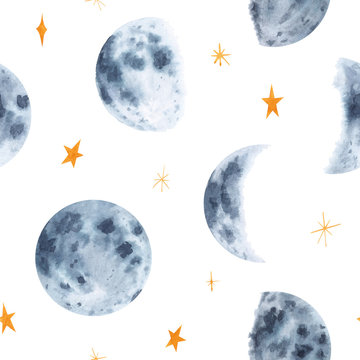Watercolor hand drawn moon phases and stars seamless pattern isolated on white background. Space print for  textile, wallpaper, wrapping paper, background, design etc.