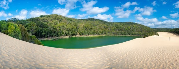 Fototapeta Panorama Lake Wabby on Fraser Island part of the Great Sandy National Park Queensland Australia. The lake is thriving with marine life and will disappear under the sand from The Hammerstone Sandblow. obraz