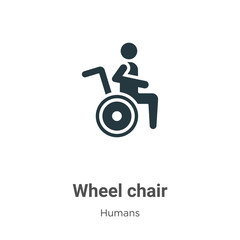 Wheel chair glyph icon vector on white background. Flat vector wheel chair icon symbol sign from modern humans collection for mobile concept and web apps design.