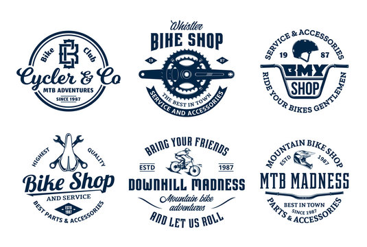 Set of vector bike shop, bicycle service, mountain biking vintage logo, badges and icons
