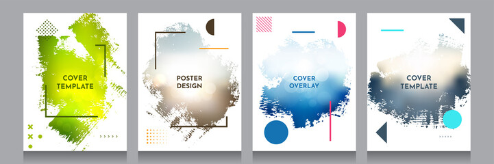 Vector grunge overlay. Backgrounds set. Abstract frame with Memphis pattern elements. Ink brush clipping mask. Design for flyer, banner, poster, invitation, gift card, voucher, coupon, book covers.