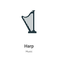 Harp glyph icon vector on white background. Flat vector harp icon symbol sign from modern music collection for mobile concept and web apps design.