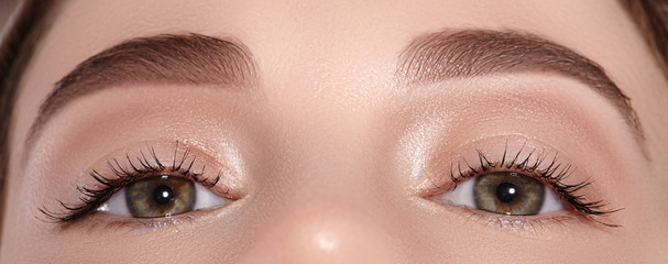 Beautiful Eye with Perfect Shape Eyebrows. Clean skin, Naturel Make-Up. Good Vision. Permanent Makeup on Eye Brows