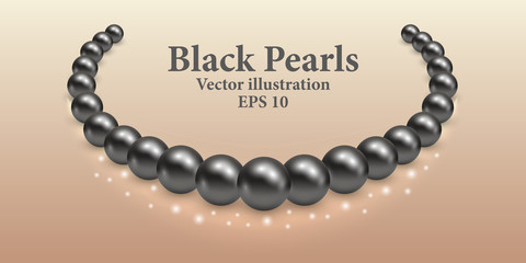 Black pearl necklace with light shiny effect and glowing sparkles. Luxury beauty design vector illustration.n vector illustration.