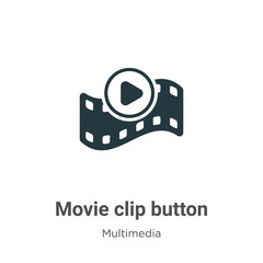 Movie clip button glyph icon vector on white background. Flat vector movie clip button icon symbol sign from modern multimedia collection for mobile concept and web apps design.