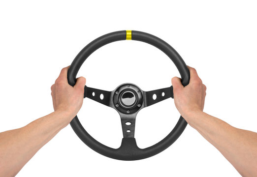 Hands on steering wheel isolated