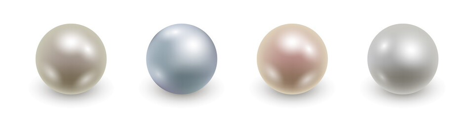 Set of realistic 3d pearls isolated. Vector illustration