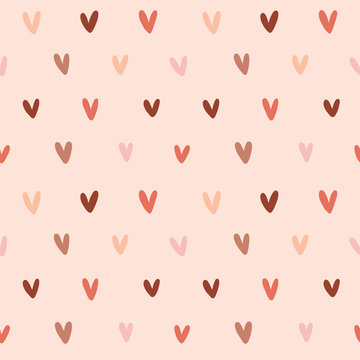 Simple modern valentine background, romantic seamless vector pattern, backdrop handdrawn ornament made of handdrawn heart shape doodles, trendy warm colors, good as card, wallpaper or wrapping paper.