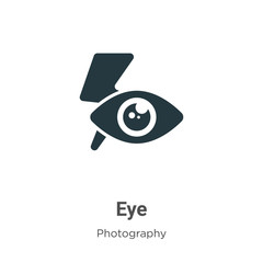 Red eye glyph icon vector on white background. Flat vector red eye icon symbol sign from modern photography collection for mobile concept and web apps design.