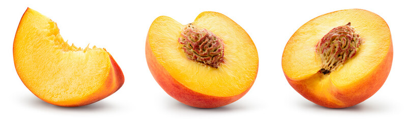 Peach slice isolated. Peach set. Peaches on white background. Collection. With clipping path.. Wall mural