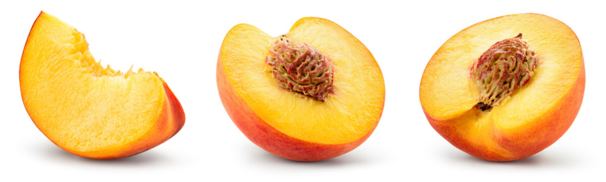 Peach slice isolated. Peach set. Peaches on white background. Collection. With clipping path..