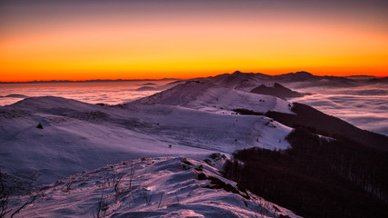 Photo Stands Melon Splendid sunrise in the Carpathian Mountains. Polonina Wetlińska. Bieszczady National Park. Poland