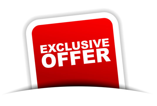 red vector banner exclusive offer