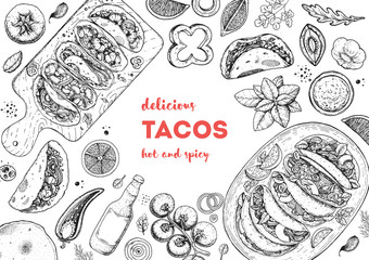 Tacos cooking and ingredients for tacos, sketch illustration. Mexican cuisine frame. Fast food menu design elements. Tacos hand drawn frame. Mexican food Wall mural