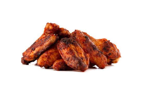 Fried wings close-up. Buffalo wings isolated on white.