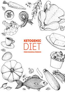 Ketogenic diet hand drawn vector illustration. Organic food diet. Good food illustration. Design elements. Hand drawn sketch. Various food frame. Organic food store concept