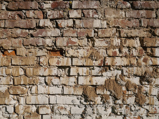 Old dirty brick wall closeup, background