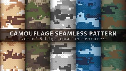Fototapeta Set pixel camouflage military seamless pattern