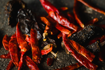 Canvas Prints Hot chili peppers Mexican chilies, close-up of dry variety, including chile ancho and arbol chilli