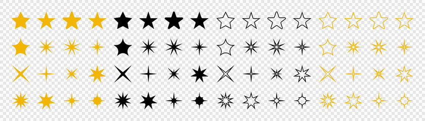 Stars collection. Star vector icons. Golden and Black set of Stars, isolated on transparent background. Star icon. Stars in modern simple flat style. Vector Fotobehang
