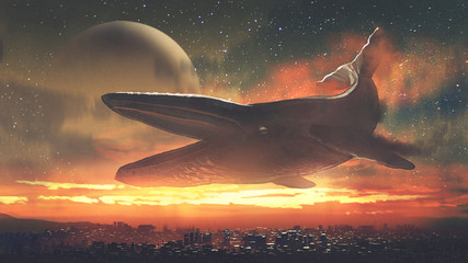 Photo sur Aluminium Grandfailure fantasy scenery of a giant whale flying above city against sunset sky, digital art style, illustration painting