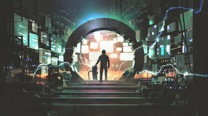 Zelfklevend Fotobehang Grandfailure sci-fi concept showing a man standing at the futuristic portal, digital art style, illustration painting