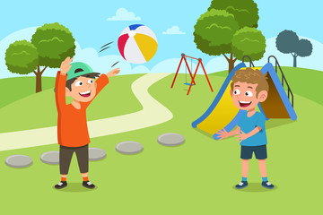 Kids Playing Ball in the Playground Illustration