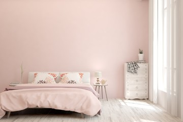 Stylish bedroom in pink color. Scandinavian interior design. 3D illustration