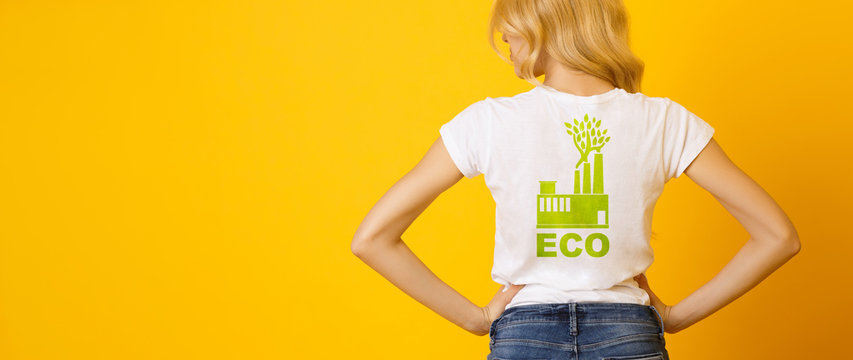 Blond Girl Wearing White T-Shirt With Green Eco Print, Rear View