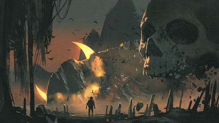 a man walks into a mysterious land with a giant skull in front of the entrance, digital art style, illustration painting