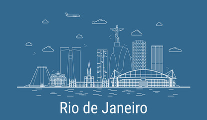 Rio de Janeiro city, Line Art Vector illustration with all famous buildings. Linear Banner with Showplace. Composition of Modern cityscape. Rio de Janeiro buildings set. Fotomurales
