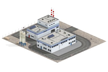 Factory Building 3d model rendered on white background - fototapety na wymiar