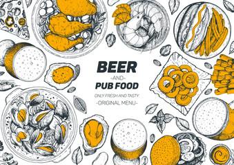 Pub food frame vector illustration. Beer, meat, mussels, fast food and snacks hand drawn. Food set for pub design top view. Vintage engraved illustration for beer restaurant.