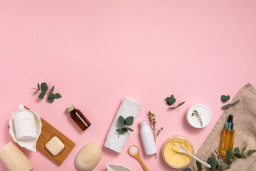 Foto op Aluminium Spa Eco cosmetic. Healthy lifestyle background. Still life. Handmade soap. Top view, flat lay. Natural organic beauty cosmetics spa concept.