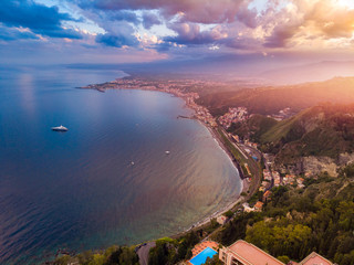 Taormina, Sicily Italy sunset landscape. Aerial top view, drone photo Fototapete