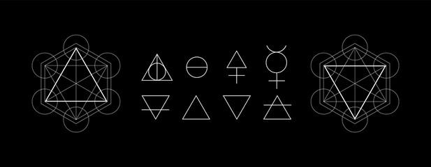 Obraz Alchemy symbols isolated on dark background. Magic vector decorative elements - fototapety do salonu