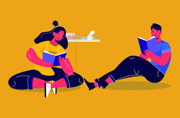 Autocollant pour porte Super heros girls with man reading
